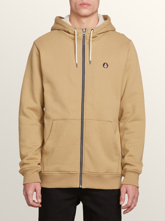 Single Stone Lined Zip Hoodie In Sand Brown, Front View