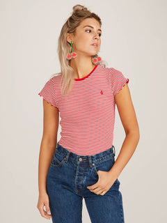 Colder Shoulder Short Sleeve Tee In Rad Red, Front View