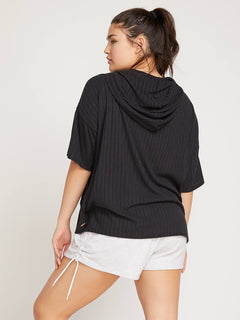 Lived In Lounge Poncho In Black, Back Extended Size View
