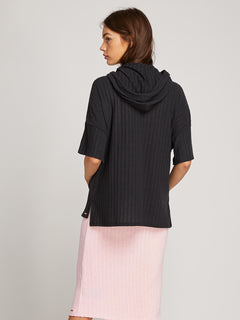 Lived In Lounge Poncho In Black, Back View