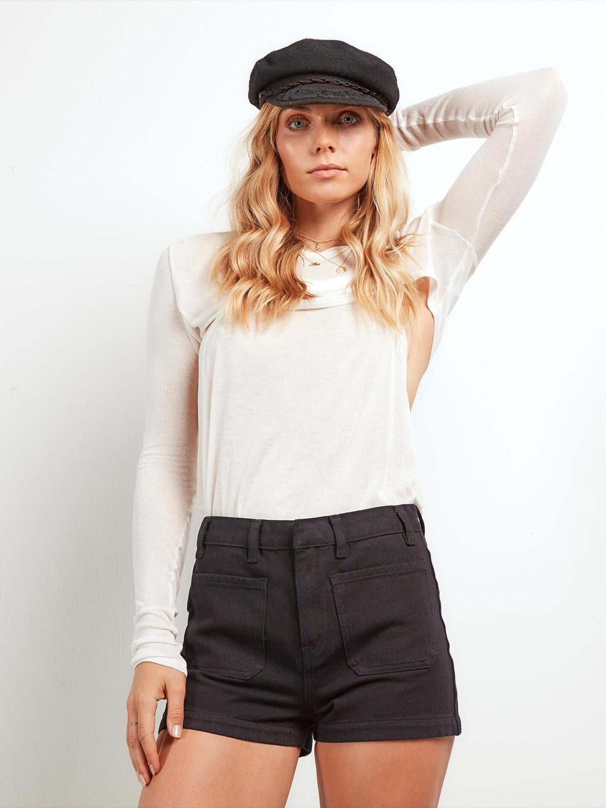 Stone Shruggin Long Sleeve Top In Star White, Front View