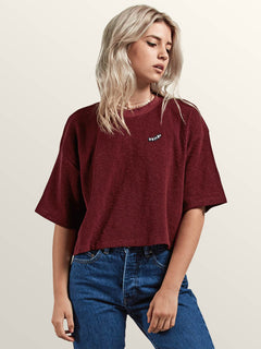 Recommended 4 Me Short Sleeve Tee In Burgundy, Front View