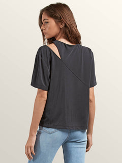 Flomingo Short Sleeve Top In Black, Back View