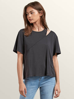 Flomingo Short Sleeve Top In Black, Front View