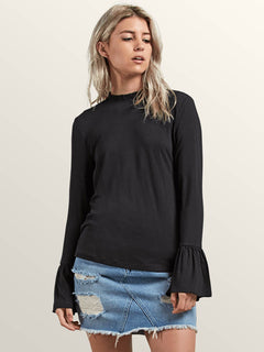 Flomingo Long Sleeve Top In Black, Front View