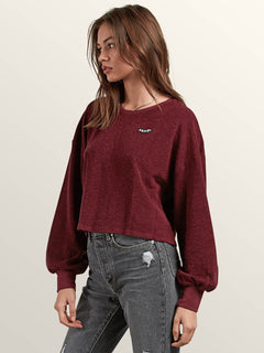 Recommended 4 Me Long Sleeve Tee In Burgundy, Alternate View