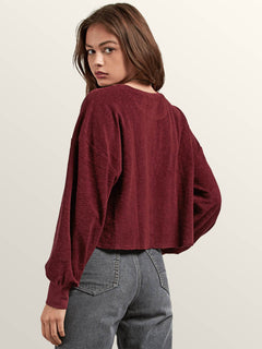 Recommended 4 Me Long Sleeve Tee In Burgundy, Back View