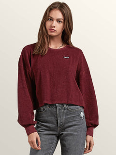 Recommended 4 Me Long Sleeve Tee In Burgundy, Front View