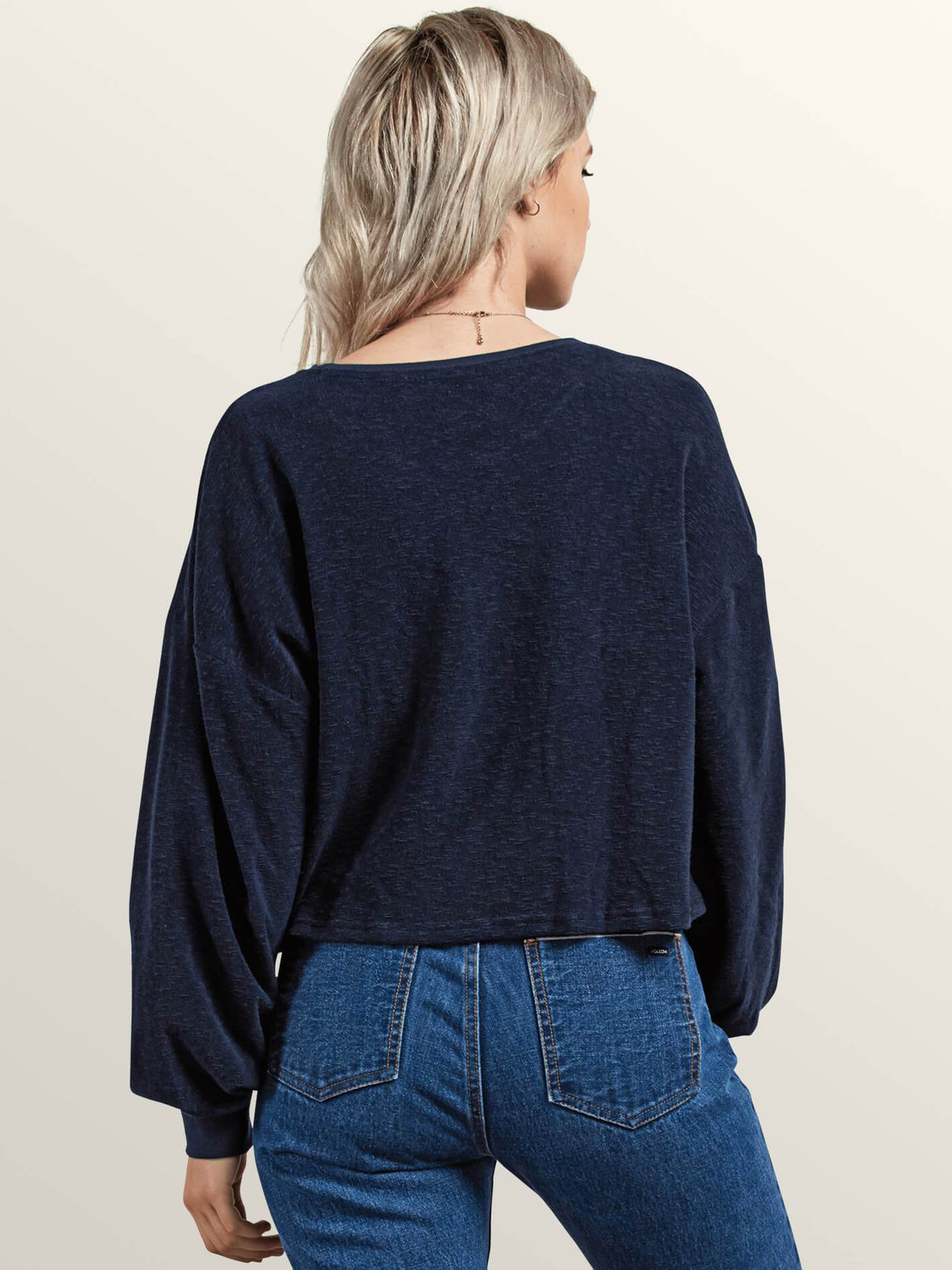 Recommended 4 Me Long Sleeve Tee In Sea Navy, Back View