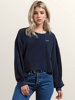 Recommended 4 Me Long Sleeve Tee In Sea Navy, Front View