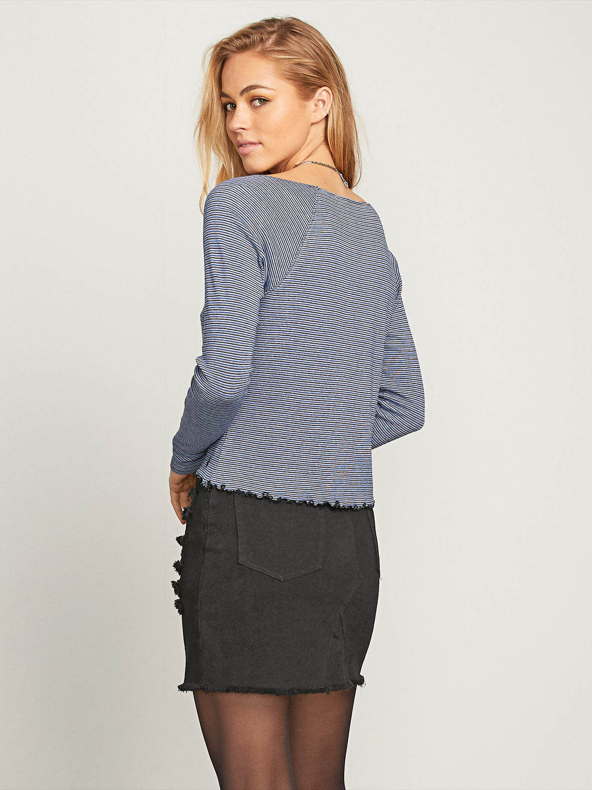 Way Femme Long Sleeve Tee In Black Combo, Back View