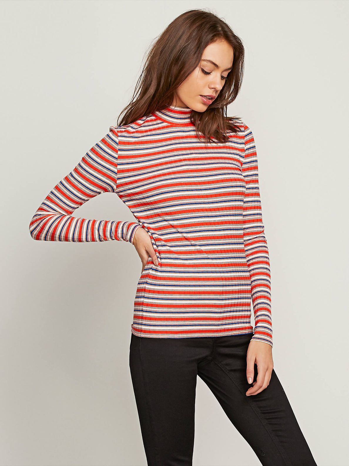 Tail Slide Long Sleeve Top In Tangerine, Alternate View