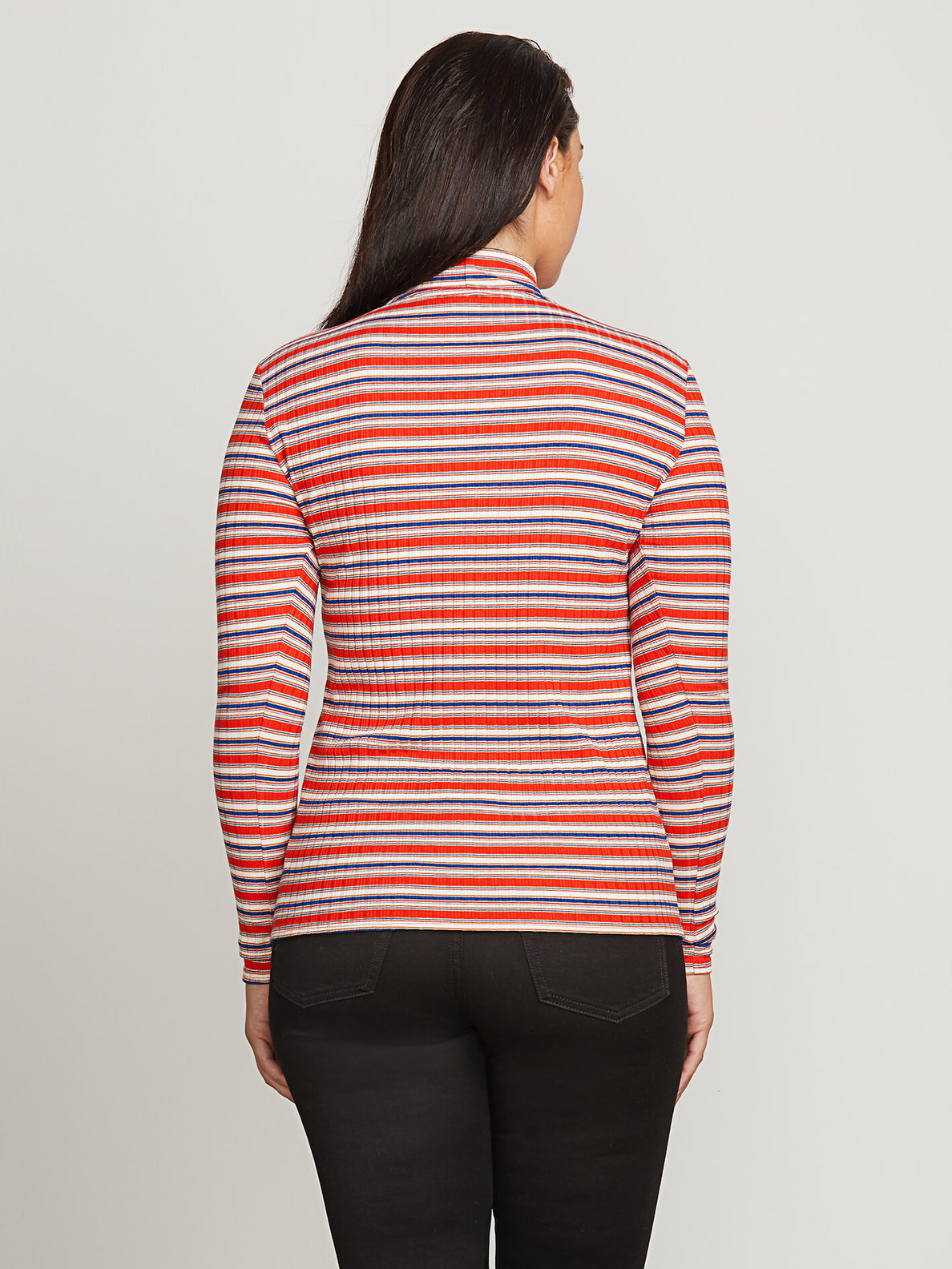 Tail Slide Long Sleeve Top In Tangerine, Back Extended Size View