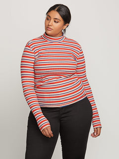 Tail Slide Long Sleeve Top In Tangerine, Front Plus Size View