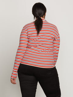 Tail Slide Long Sleeve Top In Tangerine, Back Plus Size View