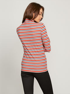 Tail Slide Long Sleeve Top In Tangerine, Back View