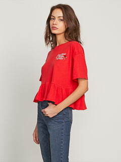 Call Me Frilly Short Sleeve Tee In Red, Alternate View