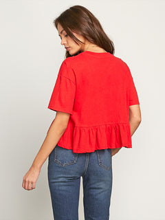 Call Me Frilly Short Sleeve Tee In Red, Back View