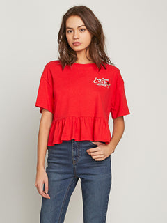 Call Me Frilly Short Sleeve Tee In Red, Front View