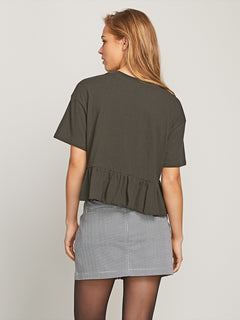 Call Me Frilly Short Sleeve Tee In Vintage Black, Back View