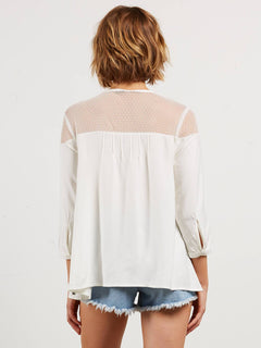 Sea Y'around Long Sleeve Top In Star White, Back View