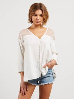 Sea Y'around Long Sleeve Top In Star White, Front View