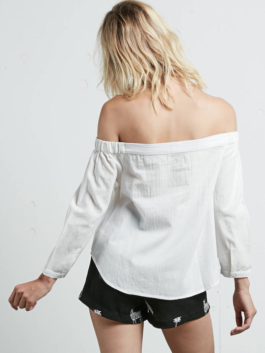 All Biz Long Sleeve Top In White, Back View