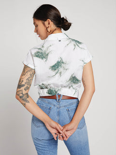 Tropi Twist Short Sleeve Shirt In White, Back View