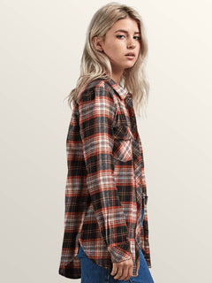 Getting Rad Plaid Long Sleeve Flannel In Black Plaid, Alternate View
