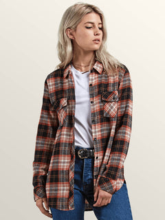Getting Rad Plaid Long Sleeve Flannel In Black Plaid, Front View