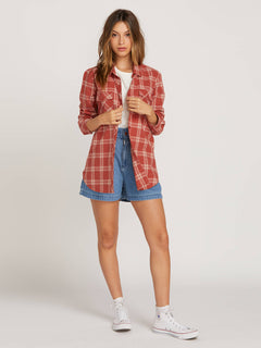 Getting Rad Plaid Long Sleeve Flannel In Dark Clay, Second Alternate View