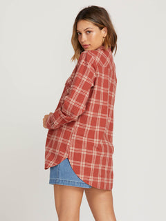 Getting Rad Plaid Long Sleeve Flannel In Dark Clay, Back View