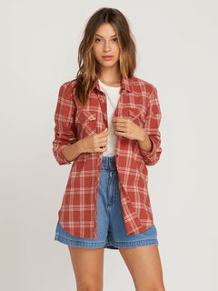 Getting Rad Plaid Long Sleeve Flannel In Dark Clay, Front View
