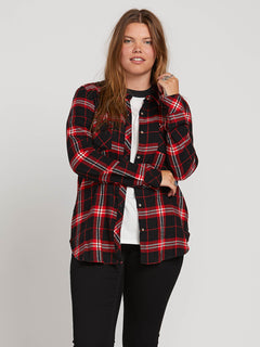 Getting Rad Plaid Ls In Flash Red, Front Extended Size View