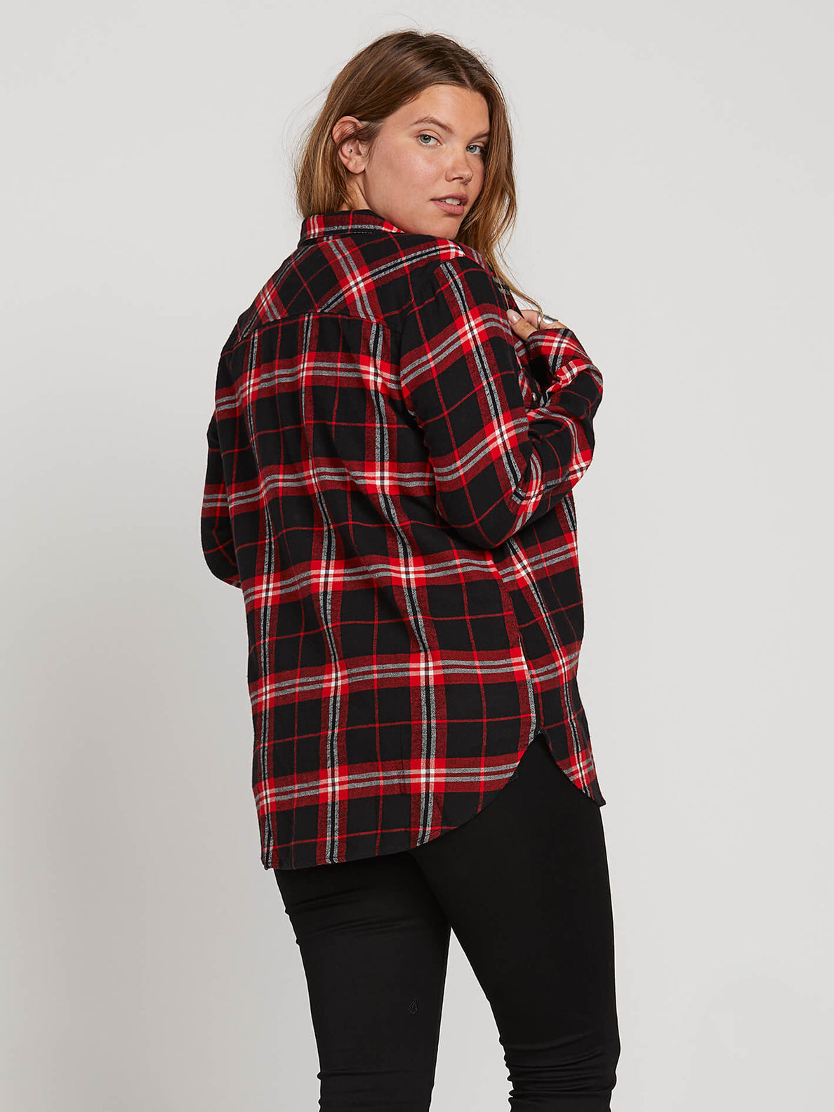 Getting Rad Plaid Ls In Flash Red, Back Extended Size View