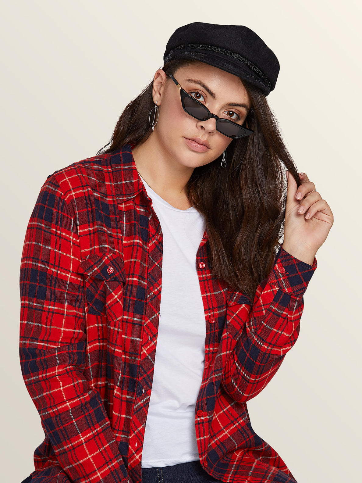Getting Rad Plaid Long Sleeve Flannel In Rad Red, Alternate View