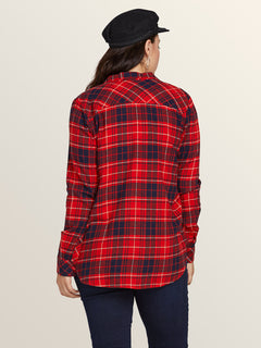 Getting Rad Plaid Long Sleeve Flannel In Rad Red, Back View