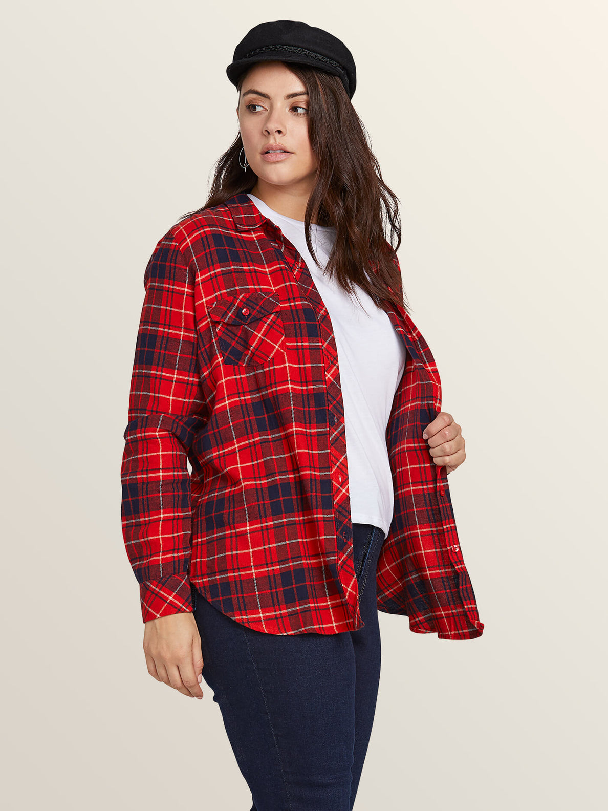 Getting Rad Plaid Long Sleeve Flannel In Rad Red, Front View