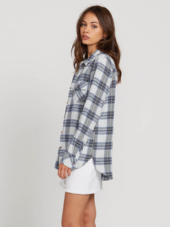 Getting Rad Plaid Long Sleeve Flannel In Smokey Blue, Alternate View