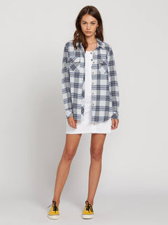 Getting Rad Plaid Long Sleeve Flannel In Smokey Blue, Second Alternate View