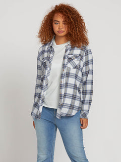 Getting Rad Plaid Long Sleeve Flannel In Smokey Blue, Front Plus Size View