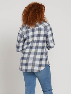 Getting Rad Plaid Long Sleeve Flannel In Smokey Blue, Back Plus Size View