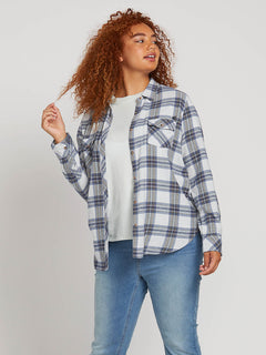 Getting Rad Plaid Long Sleeve Flannel In Smokey Blue, Alternate Plus Size View