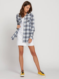Getting Rad Plaid Long Sleeve Flannel In Smokey Blue, Fifth Alternate View