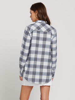 Getting Rad Plaid Long Sleeve Flannel In Smokey Blue, Back View
