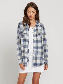 Getting Rad Plaid Long Sleeve Flannel In Smokey Blue, Front View