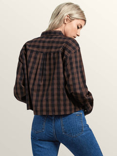 Dare 2 Bloom Long Sleeve Shirt In Dark Chocolate, Back View