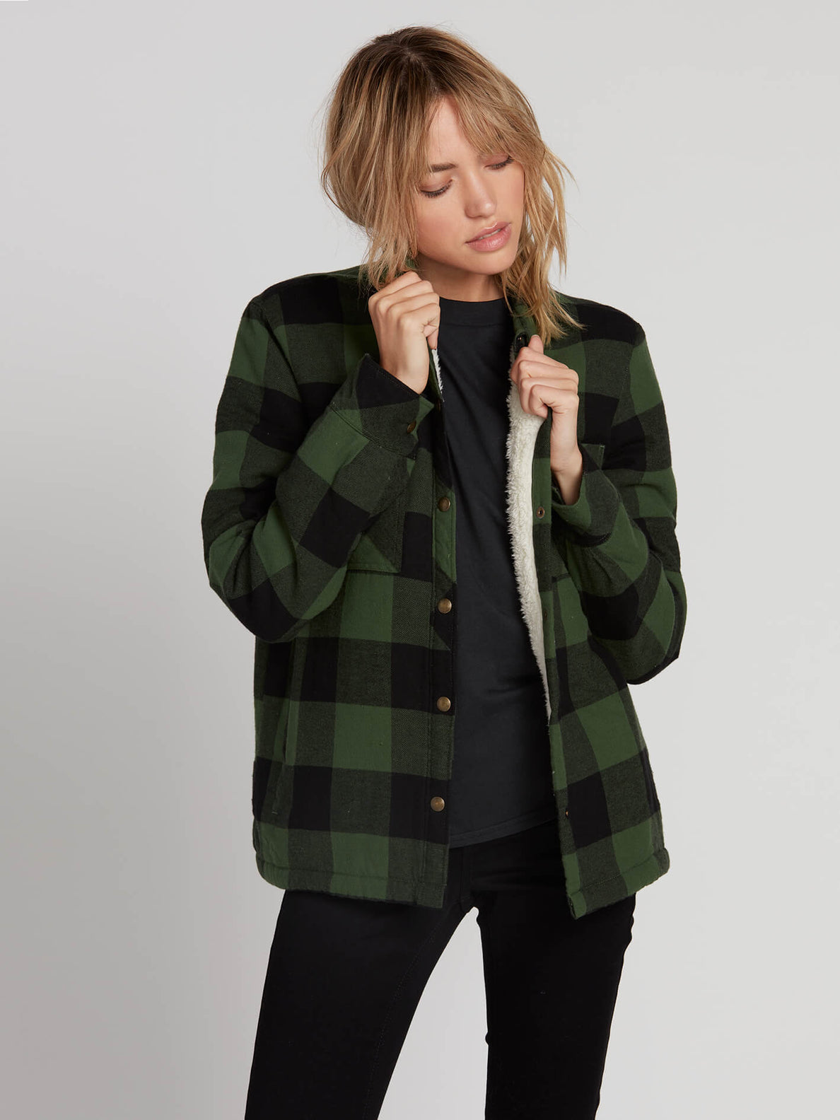 Plaid About You Long Sleeve - Green (B0531812_GRN) [F]