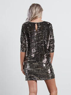 Gmj Silver Top In Silver, Back View