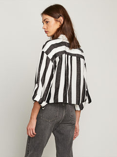 Stripe N Stone Long Sleeve Shirt In Broken White, Back View